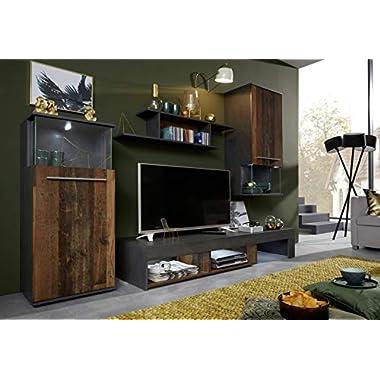 trendteam Wohnzimmer Anbauwand Wohnwand Wohnzimmerschrank Punch, 228 x 183 x 47 cm in Korpus Schwarz, Front Schwarz Glanz mit LED Farbwechselbeleuchtung