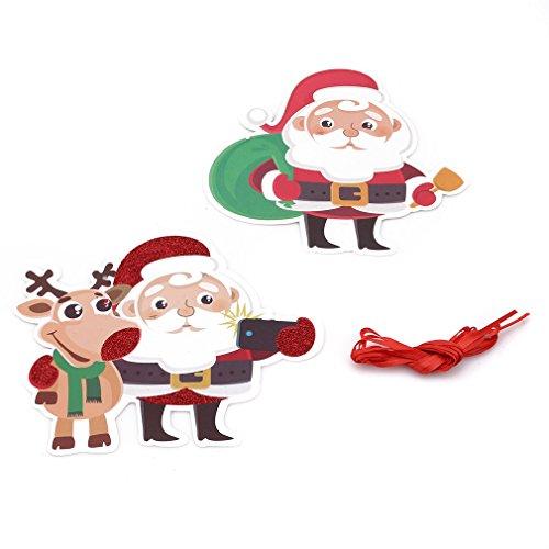ängenden Flagge Frohe Weihnachten Weihnachtsmann Banner Hängende Ornamente DIY Wand Urlaub Xmas Party Dekorationen Weihnachten Schneemann Deer Banner Bunting Flags, Papier, alter Mann + Baum + Elch ()