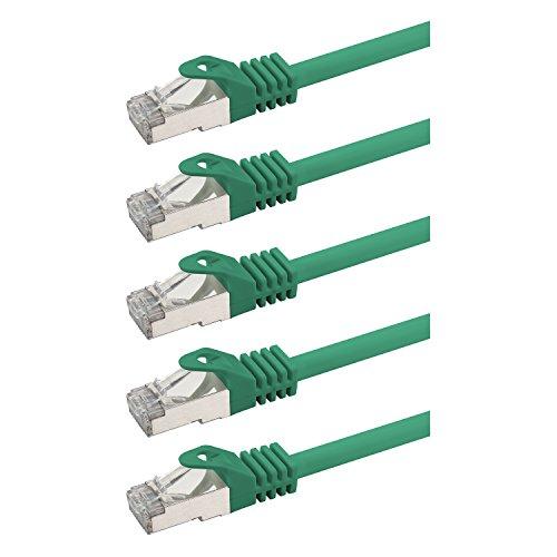 rocabo 119005 RJ45 Netzwerkkabel Patchkabel mit CAT 7, Ethernet Gigabit LAN Switch Router, Halogenfrei 1,00m (5 Stück) Grün