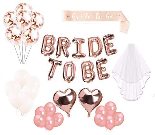 MW Junggesellinnenabschied - weißer Schleier & Schärpe & Dekoration - Luftballons (24 STK.) - Bride to be Buchstaben - Bachelorette Party - Braut (Pink)