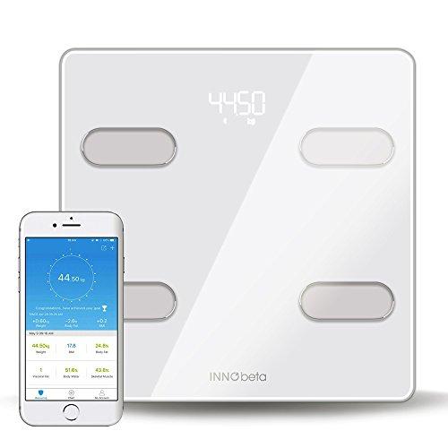 InnoBeta Fitfy Báscula Digital Inteligente con Bluetooth & App, Balanza de Baño, escáner del Porcentaje de Grasa Corporal, analizador de composición Corporal, Masa Corporal, tecnología BIA
