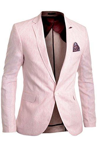 Cipo & Baxx Herren Leinen Blazer Jacke Formal Gestreift Rosa Ellenbogen Patches Größe 56