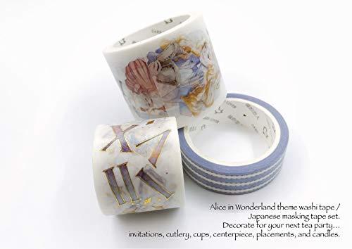 Alice im Wunderland Washi Tape/Japanisches Malerband Set 3 Rollen! Dekorieren Sie Ihre nächste Teeparty Einladungen, Besteck, Becher, Tafelaufsatz, Platzierungen und Kerzen