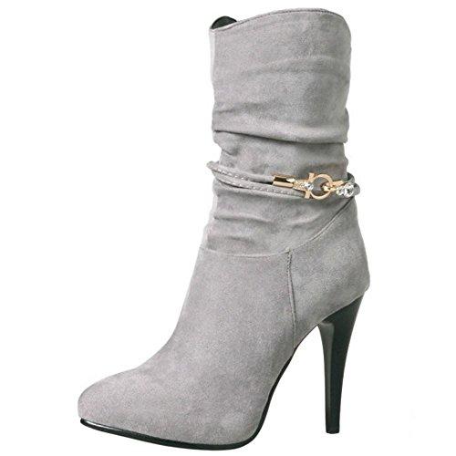 Eclair Aiguille Mode Slouch Bottes Coolcept Grey Fermeture Femmes rqFUOr