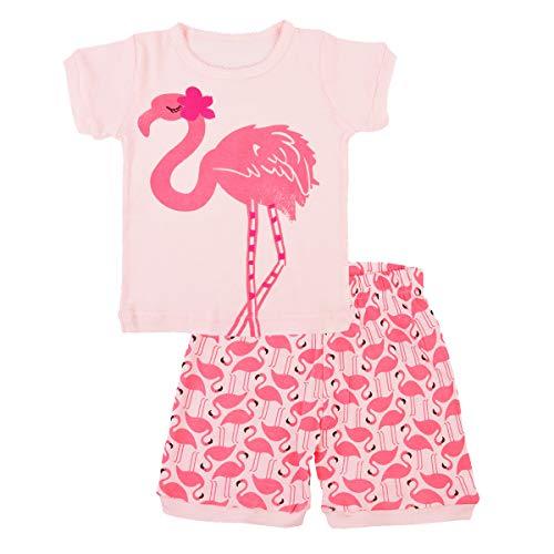 EULLA Kinder Mädchen Schlafanzug Kurz Baumwolle Einhorn Pyjama Schlafanzug Hosen Oberteile, 4-flamingo, 110(Herstellergröße:6T) - Flamingo Pyjama