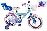 E&L Cycles Kinderfahrrad Disney Frozen - Die Eiskönigin 14 Zoll mit Rücktrittbremse, Korb, Puppensitz und Extra Fahrradklingel