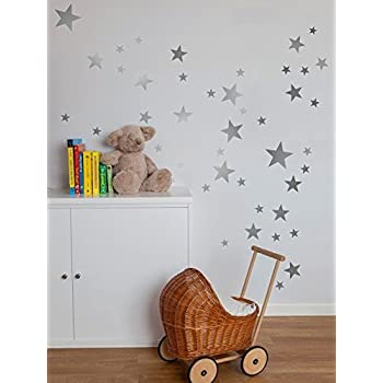 Bluelans 39pcs stars wall sticker star nursery children room wall art sticker decal silver