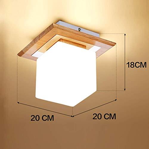 Oevina Modern E27 LED Massivholz Moderne Deckenleuchte, Mini Nordic Deckenleuchte Weiches Licht Weiß Glasschirm Beleuchtung für Flur D-12cm T-14cm-B 5W (Color : H, Size : 5W) -