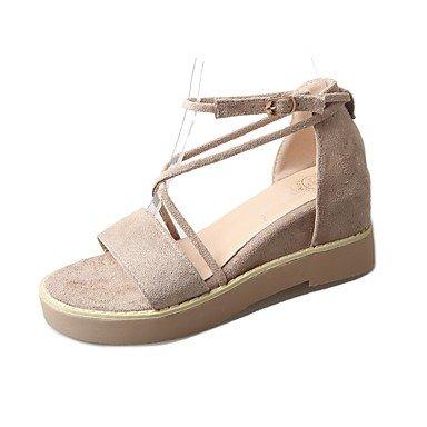Rtry Sandalias Para Mujer Suela Ligera Pu Summer Casual Hebilla Plana Heel Beige Flat Negro Us7.5 / Eu38 / Uk5.5 / Cn38