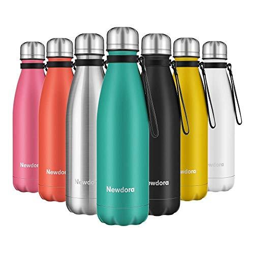 Newdora Bottiglia Acqua in Acciaio Inox 500ml, Senza BPA, Borraccia Termica Isolamento Sottovuoto a Doppia Parete, per Campeggio di Sport Esterni Escursionismo Escursioni in Bicicletta, Verde