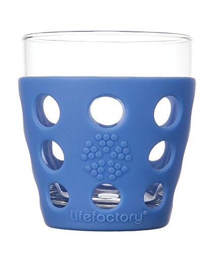 Lifefactory Verre à boisson, verre, 2-piece-p, Verre, bleu cobalt, 10 oz