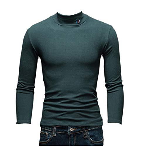 CuteRose Men Casual Jammer Tops Slim Fleece Mock Neck Thicken Sweater Blackish Green 2XL (Crewneck Wool Green Pullover)