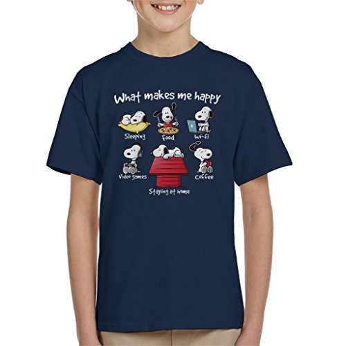 Cloud City 7 Snoopy Staying at Home Makes Me Happy Kid's T-Shirt - Snoopy Junk-food