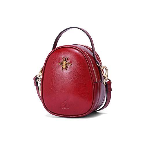 C'iel Adeille Damen Umhängetasche, Vintage-Stil, echtes Leder (Wine-Red) -