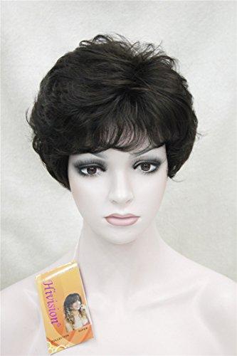 Kalyss Damen Kurze Curly Top Qualität Synthetische Faser Haar Mix Schwarz Braun Perücken Breathable (Curly Damen Volle Perücke)