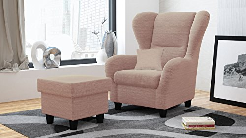 Ohrensessel mit Hocker rosa, Stoff | Relaxsessel | Fernsehsessel | Schlafsessel | Lesesessel | Ruhesessel