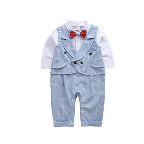 feiXIANG 5PCS Baby Jungen Bekleidung Set, Baumwolle Tops/Hosen/Mantel/Fliege/Weste für Junge Hochzeit Smoking Anzug (Blau,80) -