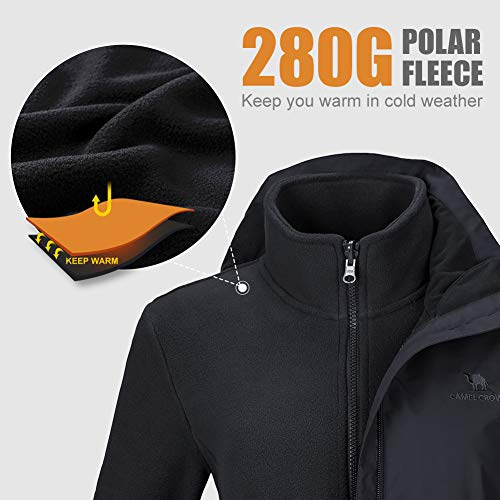 41ZFexlLU0L. SS500  - CAMEL CROWN Women's Ski Jacket 3 in 1 Waterproof Windproof Softshell Mountain Jacket Fleece Lined for Hiking Snowboard…