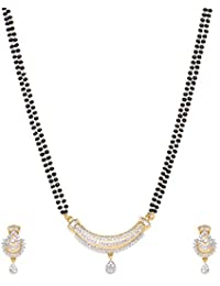 Jewel Galaxy Designer American Diamond Gold Plated Mangalsutra for Women