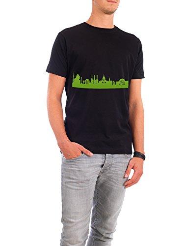 """Design T-Shirt Männer Continental Cotton """"Hannover 01 grüner Skyline-Print"""" - stylisches Shirt Abstrakt Städte Städte / Weitere Architektur von 44spaces Schwarz"""