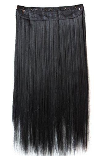 PRETTYSHOP XXL 5 Clips ein Teresse ganzen Kopf Clip In Extensions Haarverlängerung glatt 60cm schwarz #1 C51