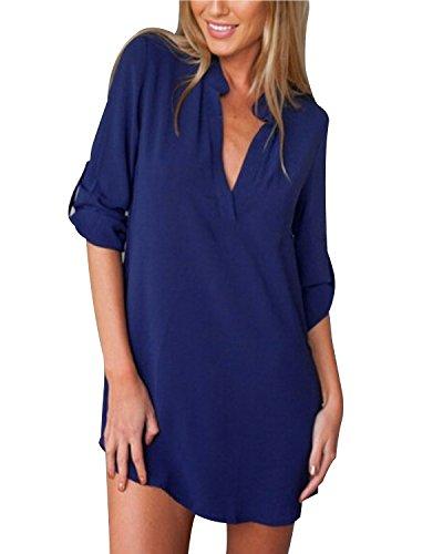 ZANZEA Damen V-Ausschnitt Chiffon Langarm Slim Oversize T-Shirt Bluse Lose Tops Blau EU 48/US 16 -