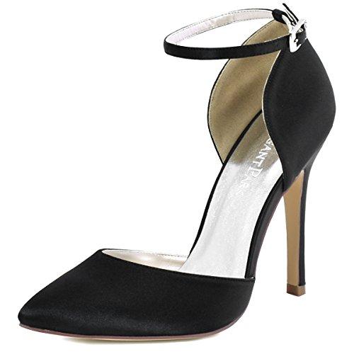 ElegantPark HC1602 Damen Spitze Zehen D'orsay Ankle Straps High Heels Pumps Satin Abendschuhe Brautschuhe Blush Gr.39