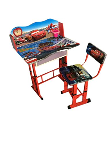 FF CAR'S Kids Study Table & Chair Set, Suitable For Kids Between Age 3-10 Years, Imported By FURNITURE FIRST
