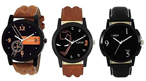 Mishva Analog Multi-color Dial Leather Strap Wrist Pack of 3