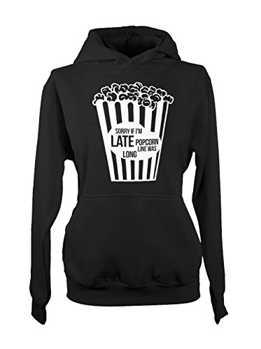 Popcorn Line Was Long Sorry Meme Amusant Cool Femme Capuche Sweatshirt Noir