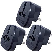 Type D Round Pins Travel Plug Adapter with Ground and Safety Shutter, KSA/UAE/EU/DE/US/JP/UK Plug Suitable for India/Nepal/Pakistan Socket (Indian Plug * 3, Black)