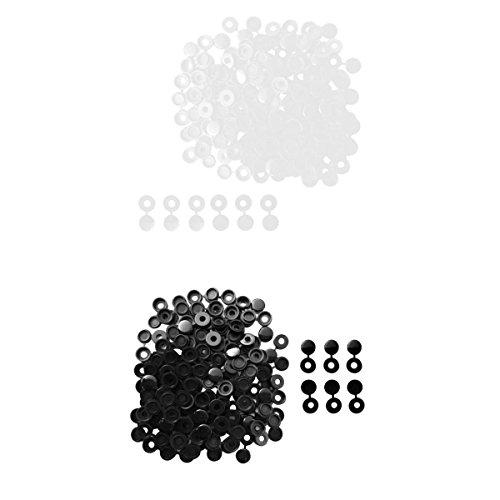 MagiDeal 200pcs Petit Charnière Couvercle à Vis Pour Voiture Maison Décoration Blanc + Noir