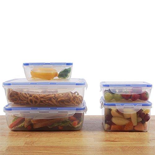 Zuvo: Kunststoff wiederverschließbaren Frischhaltedosen mit Deckel–5x SET, Clip & Lock, Mikrowelle Gefrierschrank & spülmaschinenfest, auslaufsicherer & Crack Proof, BPA-frei (quadratisch, rechteckig, transparent Box, blau Clip)...