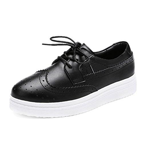 HWF Chaussures femme Chaussures de printemps des femmes de style britannique plaque chaussures de sport occasionnels plats simples chaussures marée féminine ( Couleur : Blanc , taille : 38 ) Noir