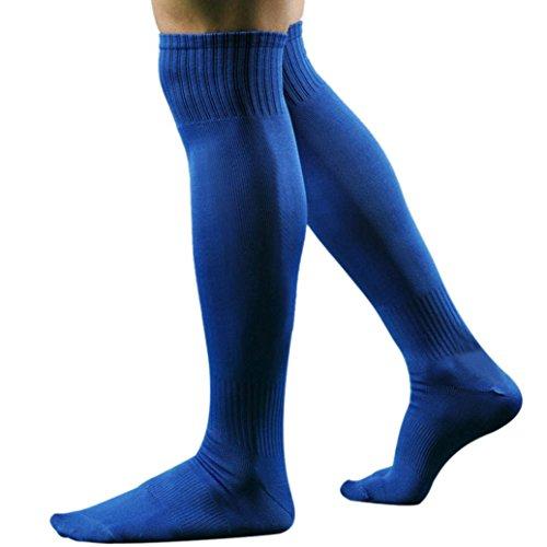 Unisex Sportsocken Transer® Knie-Lange Baumwolle+Spandex Draussen Fußball Basketball Baseball-Socken Strümpfe Größe: 43 cm (Blau) (Socken Baumwoll-spandex-knie-hohe)