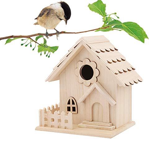 Binggong Nesträubersicherer Stabiler Nistkasten Vogelhaus Nisthaus Brutraum mit Balkon Dekorativer Vogelhaus Nistkasten für Wildvögel,Vogelhäuschen aus Holz (A) -