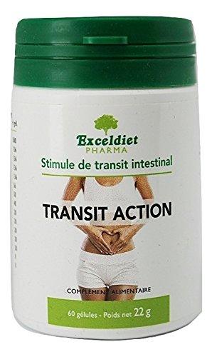 Constipation adultes - Transit Action - Laxatif naturel - Ventre plat femme et homme - Transit intestinal - Détox minceur - Nettoyage du colon - 60 gélules - Exceldiet, la marque Verte.