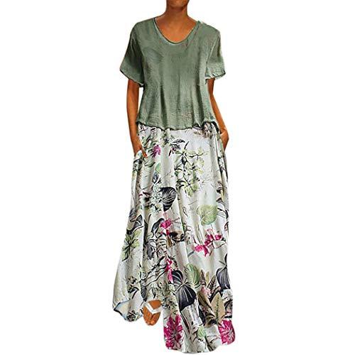 CUTUDE Damen Kleider Röcke Kurzarm Sommerkleider Frauen Vintage Print Patchwork Rundhals Zweiteiliges Set Plus Size Taschen Maxi-Kleid (Grün, Medium) -