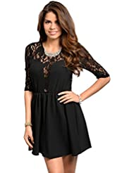 Partykleid / Minikleid, Spitze mit Blütenmotiv - schwarz