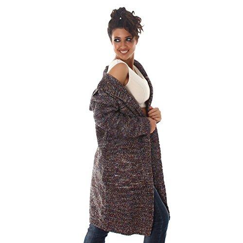 Voyelles Lange Damen Strickjacke | Strickmantel mit Glitzer | Langarm Cardigan mit Taschen und Kapuze | 34 36 38 Britisch Grün