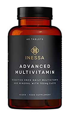 Multivitamin with CoQ10 100mg, Vitamin D3 2000 IU, K2 100mcg, B Complex, Vitamins A 800mcg, Folic Acid as 5-MTHF 400mcg, Zinc 20mg and Lutein in their most absorbable forms at optimal levels based on research based evidence from -