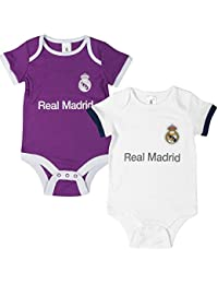 Oficial REAL MADRID Bodies para bebé–2Pack–Temporada 2016/17, color blanco, tamaño (12-18M) UK