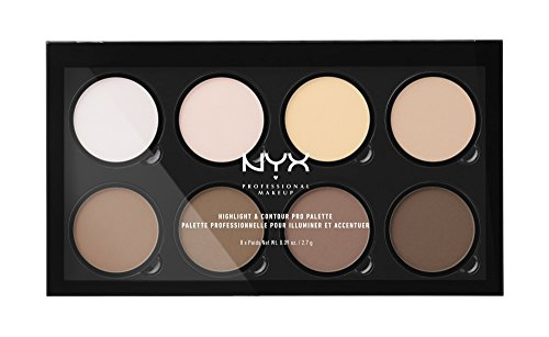 Nyx Professional Makeup Long Lasting Highlight and Contour Pro Palette, Matte Finish, 21.6g