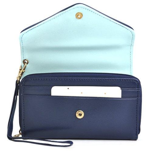 SODIAL (R) Fashion Dame Leder-Geldboerse Handy Smart Beutel Case fuer iPhone 4S & 5 - Gelb dunkelblau