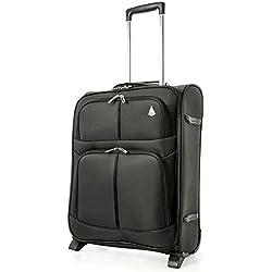 Aerolite 55x40x20 Tamaño Máximo de Ryanair y Vueling Trolley Maleta Equipaje de mano cabina ligera con 2 ruedas, Negro