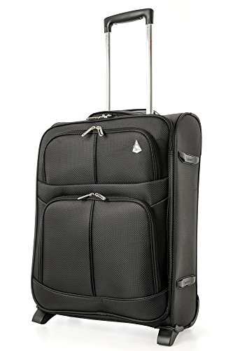 Aerolite 55x40x20 Ryanair Maximum Allowance 42L Lightweight Travel Carry On Hand Cabin Luggage Suitcase with 2 Wheels - Also Approved for easyJet, British Airways and More (Black)