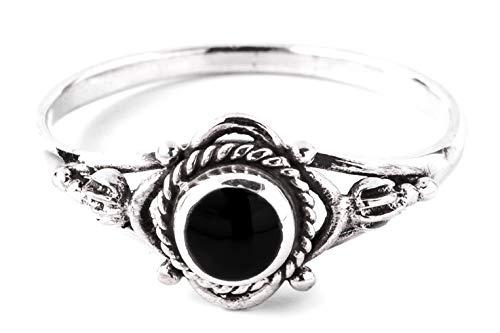 WINDALF Zarter Mediaval Damen Ring SIANA Ø 0.8 cm Freundschaftsring mit Onyx Bohemia Schmuck Vintage 925 Sterlingsilber (Silber, 60 (19.1))