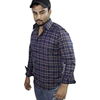 Spanish One Look Mens Long Sleeve 100% Cotton Regular Fit Button Down Casual Shirts Dress Shirt for Men (Blue Checked, Medium)