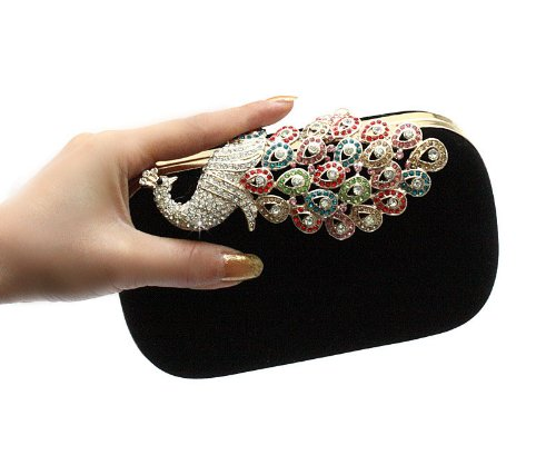 Pfau Kristall Diamant funkeln Abendtaschen Hart Schachtel Unterarmtasche Clutch Handtasche (Rot) Kaxidy 7X6REb3