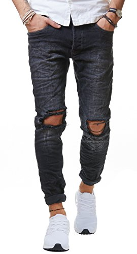 Redbridge Herren Jeans Hose Denim Slim Fit Destroyed Zerrissen Verwaschen Schwarz M4098, Schwarz, 30W / 32L